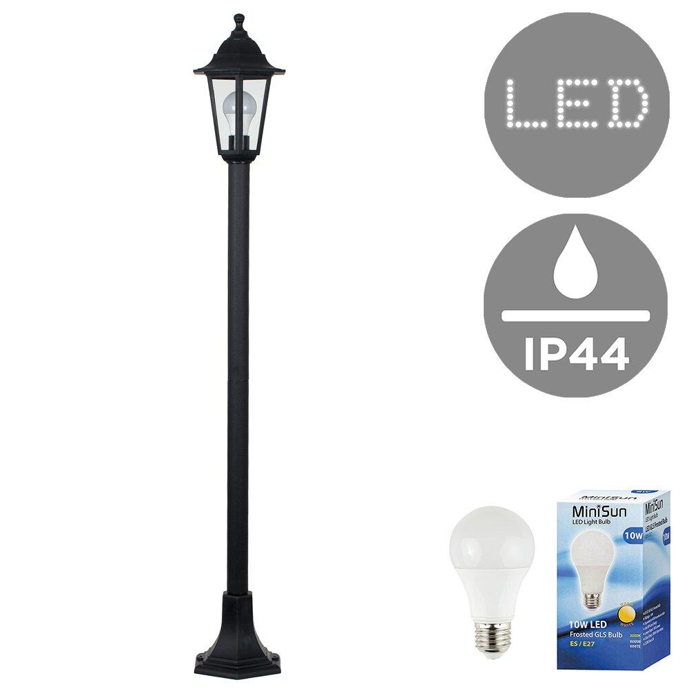 4 x Traditional Victorian Style 1.2m Black IP44 Outdoor Garden Lamp Post Bollard Lights MiniSun