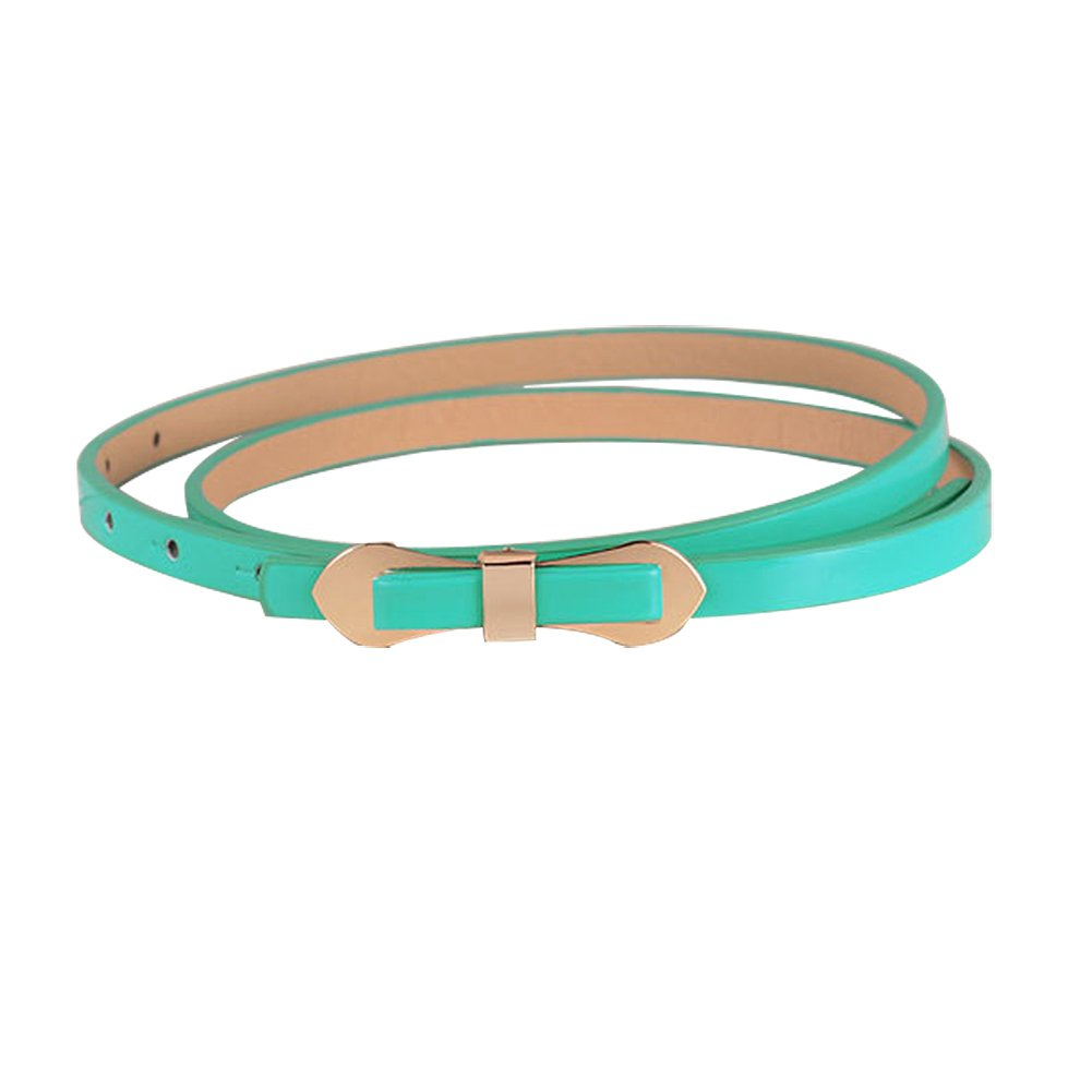 TOOGOO(R) Lake Blue Cute Slender Candy Color Bowknot Layered Waist Slender Belt For Women 102*1cm