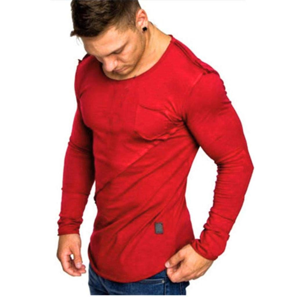 Kanpola Men Clearance Long-Sleeve Beefy Muscle Button Basic Solid Pure Color Blouse Tee Top Shirt