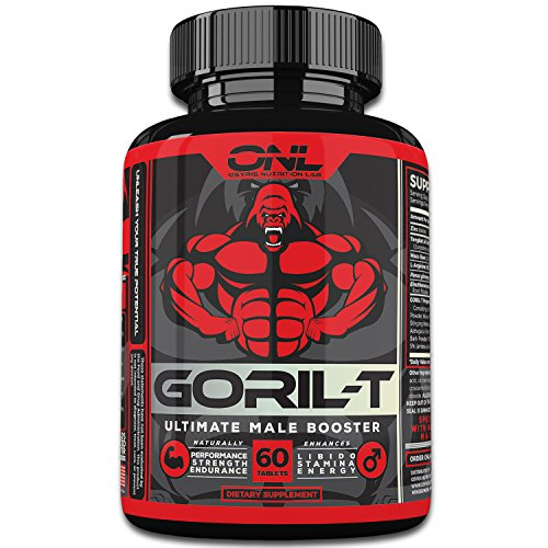 GORIL-T - Ultimate 6-IN-1 Testosterone Booster (60 Tablets) Naturally Increase Male Test Levels, Strength, Metabolism, Energy, and more! #1 Men's Test Supplement Promotes Healthy Weight Loss