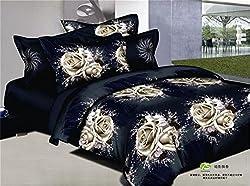 Joybuy Black White Roses Cotton Bedding 3d Bedding Set Linen Cotton Queen Size/bedclothes Duvet Cover 4pcs Comforter Not Included