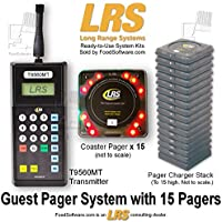 15 Guest Pager Restaurant Pager System Kit By LRS Long Range Systems