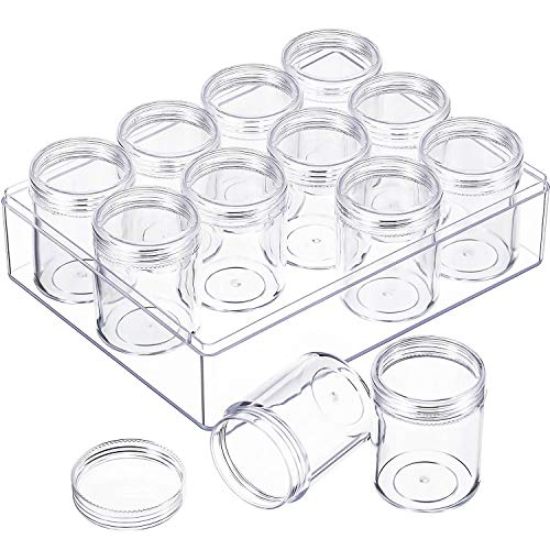 Blulu Clear Bead Organizer Bead Storage Containers Set with 12 Boxes, 1.9 x 1.5 Inches (1.9 x 1.5 Inches)