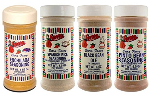 Bolner's Fiesta Mexican Sidedish Seasoning 4 Flavor Variety Bundle: (1) Enchilada Seasoning, (1) Pinto Bean Seasoning, (1) Spanish Rice Seasoning, and (1) Black Bean Ole', 4-4.5 Oz. Ea.
