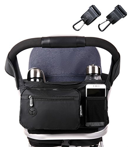 Bagail Stroller Organizer Fits All Strollers, Two Premium Deep Cup Holders, Extra-Large Storage Space for iPhones, Wallets, Diapers, Toys, & iPads, The Perfect Baby Shower Gift for Smart Moms