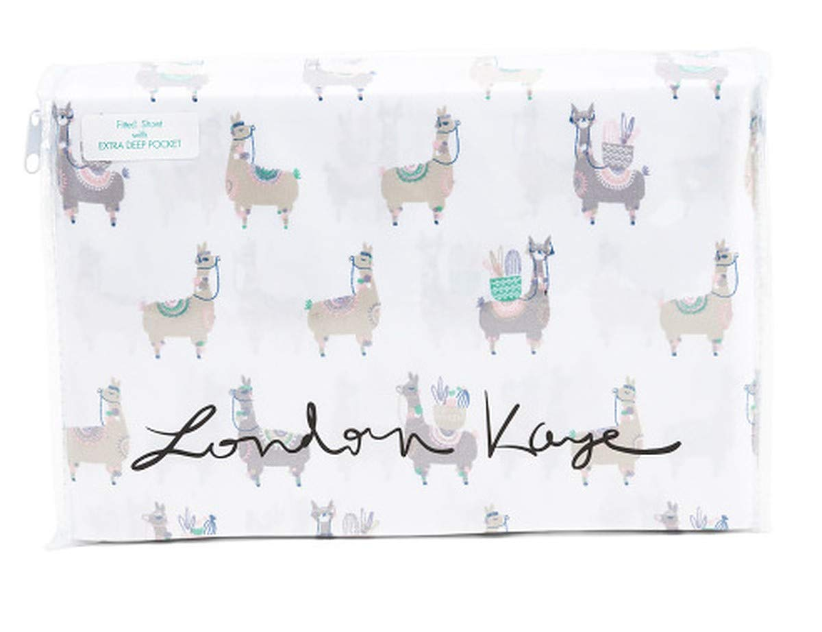 London Kaye Multicolor Grey Green Pink Blue Llama Bedding on White - Printed Llama 4 Piece Sheet Set with Flat Sheet, Fitted Sheet, Pillowcase(s) (Queen) by London Kaye