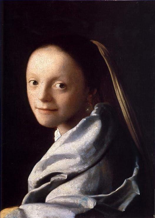 Toperfect €50-€2000 Pintura al óleo a Mano - Estudio de una Mujer Joven Barroco Johannes Vermeer - Arte Obras Pinturas - Pintado de Lienzo -tamaño12: Amazon.es: Hogar