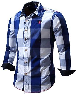 Cokle Men's Slim Fit Casual Plaid Button Down Shirt