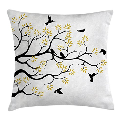 Sitting Bird (Birds Throw Pillow Cushion Cover by Lunarable, Flying and Sitting Birds on the Tree Branch Flowers Weed Nature Peace Theme, Decorative Square Accent Pillow Case, 26 X 26 Inches, Black Yellow White)