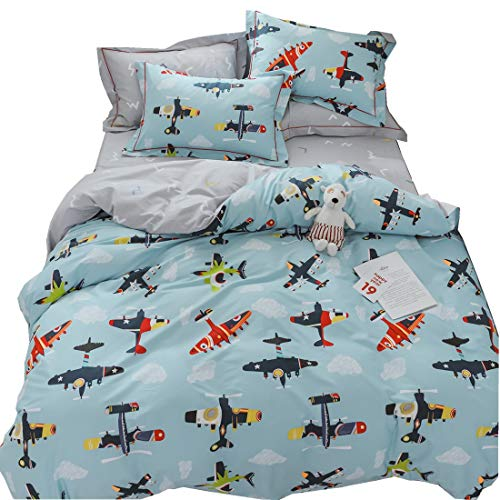LAYENJOY Airplane Cartoon Duvet Cover Set Twin Size Flying Sky Clouds 100% Cotton Bedding Set for Kids Teens Boys Girls Reversible Blue Gray Comforter - Kids Bedding Airplane