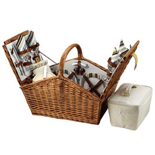 - Picnic at Ascot Huntsman English-Style Willow Picnic Basket with Service for 4 - Santa Cruz