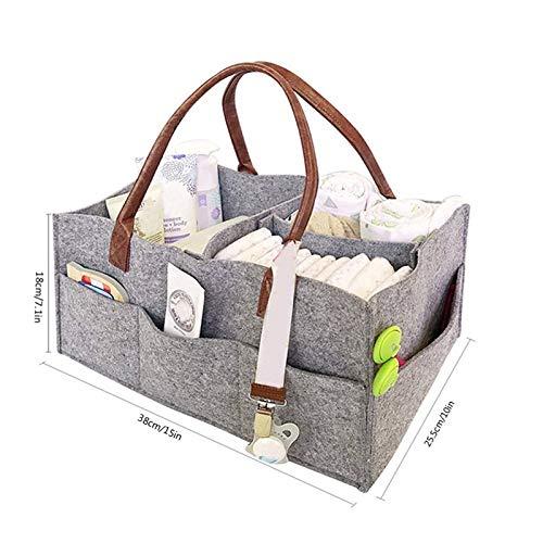 Bolsa de Almacenamiento Plegable de Fieltro para pa/ñales de beb/é Cesta de guarder/ía Bolsa de Viaje Organizador de Coche Yapott