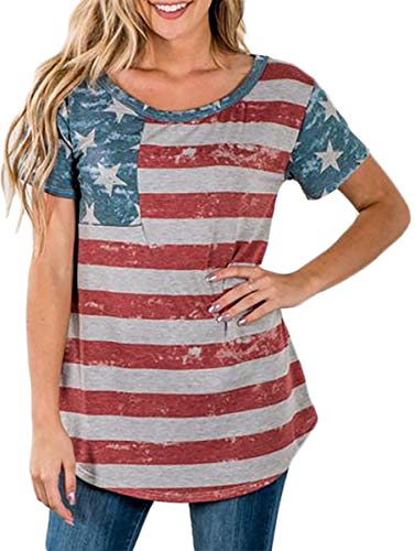 July 4th Women American Flag Short Sleeve Tunic Top Cotton Casual Summer T Shirt S ()