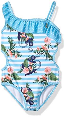 Jantzen Little Girls NEO Nautical Anchor Print Swimsuit, Stripped, 6X