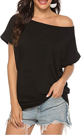 Womens Off Shoulder Tunic Tops Loose Batwing Sleeve Blouse Casual Summer T-Shirt Plus Size