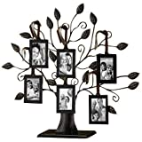 """Klikel 13"""" Medium Bronze Family Tree of Life Centerpiece Display Stand With 6 Hanging Photo Picture Frames"""