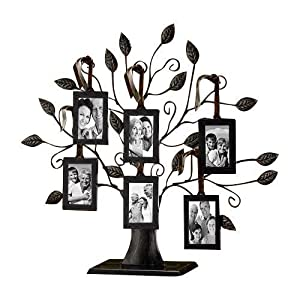 Klikel Family Tree Picture Frame Display with 10 Hanging Picture Photo Frames | Large 20 X 18 Metal Tree | 10 Ornamental 2×3 Frames