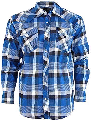 Casual Country Men's Snap-Front Western Plaid Shirt (X-Large, Blue/Black)