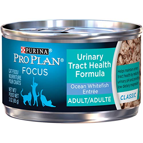 Purina Pro Plan Urinary Tract Health Pate Wet Cat Food; FOCUS Urinary Tract Health Formula Ocean Whitefish Entree - (24) 3 oz. Pull-Top Cans