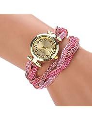 changeshopping(TM) Luxury Women Crystal Wrap Bracelet Dial Quartz Digital Wristwatch Watch (pink)