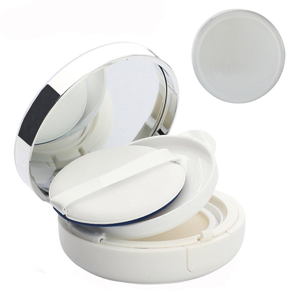 Contenitore bianco circolare e ricaricabile, Contenitore per cipria con specchietto e spugna, per fai-da-te o come regalo di Natale Elandy