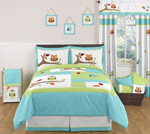 Sweet Jojo Designs Turquoise and Lime Hooty Owl Queen Bed Skirt for Childrens Kids Bedding Sets