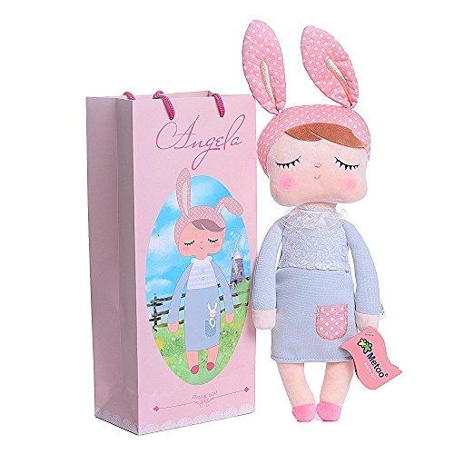 Tingyao Angela Sleeping Grey Dress Pink Bunny Girl Baby Stuffed Rabbit Dolls Birthday Gifts for Girls