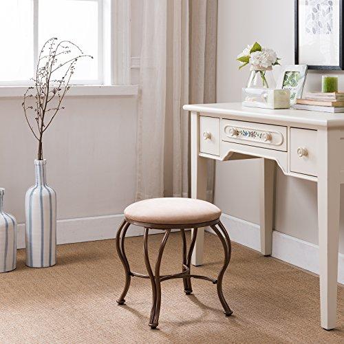 Kings Brand Furniture – Metal With Microfiber upholstery Vanity Stool, Gold/Brown by Kings Brand Furniture