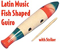 Performance Plus GR1 Guiro Puerto Rican Style, Hand Painted Wooden, Fish Shape with Scraper