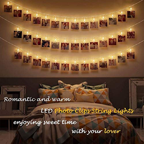 Photo Display Lights, 40 LED Photo String Lights with Clips for Picture Hanging Display, Indoor Fairy String Lights Pictures Cards Holder Lights for Bedroom Decoration