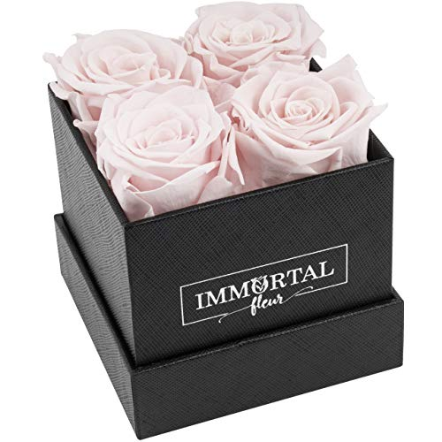 Immortal Fleur Preserved Roses | Fresh Real Flowers Arranged In Elegant Square Box | Last Over a Year | Handmade Gifts For Her: Valentine's Day, Mother's Day, Anniversary & Birthday | Pink: 4 Roses