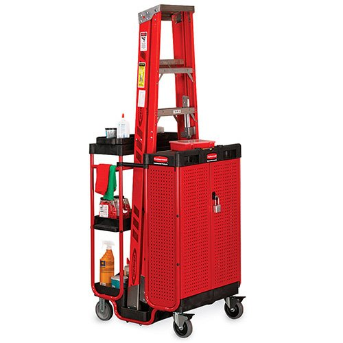 Ladder Cart - Rubbermaid Commercial Ladder Cart with Cabinet, 3 Shelf, FG9T5800BLA