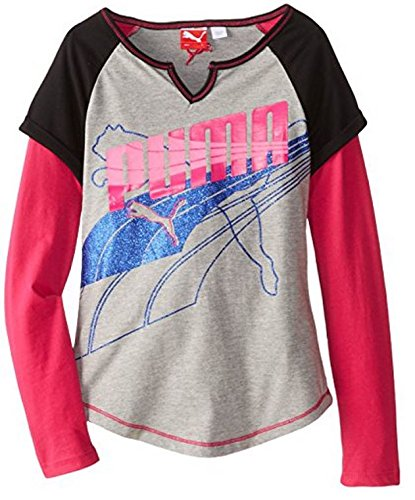 Sports Lifestyle by Puma Big Girls Long Sleeve Raglan Shirt - Gray (4) by PUMA