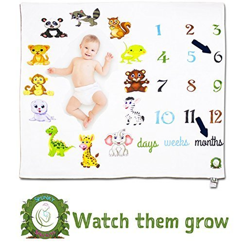 Spunky Sprouts Premium Double Layer Milestone Growth Blanket (WOOD ARROWS INCLUDED) Large Size. Weeks & Months-Great Gift For Newborns and Expecting Moms Photography for Boys or Girls by Spunky Sprouts (Image #9)