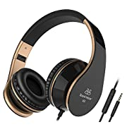 Amazon Lightning Deal 95% claimed: Sound Intone I65 Stereo Foldable Headphones with Microphone for Cellphones Laptop Mp3/4 (Black/gold)
