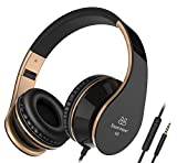 Headphones Best Deals - Sound Intone I65 Stereo Foldable Headphones with Microphone for Cellphones Laptop Mp3/4 (Black/gold)