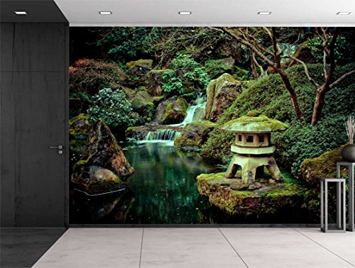 Wall26   Rocks On A Serene Lake Under A Palm Tree   Wall Mural, Removable  Sticker, Home Decor   100x144 Inches