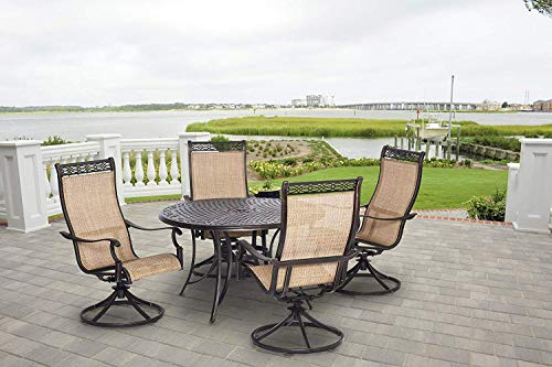 Hanover Manor 5 Piece Outdoor Dining Set with Four Swivel Rockers (Cast Sling Furniture Patio Aluminum)