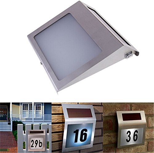 Solar Powered Stainless Steel 2 LEDs Doorplate Lamp House Number Light - 8