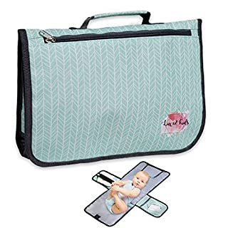 Luxe and Kids Portable Diaper Changing Pad - Large 28 inch Waterproof Portable Changing Pad for Baby - Modern Mint Diaper Clutch Design for Boys and Girls