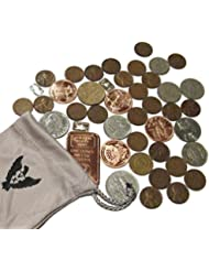 Vx Investments Ultimate Coin Bag. 3x 1 Gram Silver Bars, 25 Unsearched Wheat Pennies, 1 Ounce 999 Copper Bar, 4x 1/4 Ounce Copper Coins, and 10 World Coins.