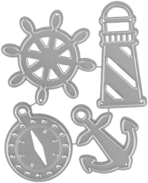 Nankod Phare Ancre Bricolage Coupe Matrices pochoirs /à la Main en M/étal Moule Mod/èle pour Carte Scrapbooking Artisanat Album Cadeau