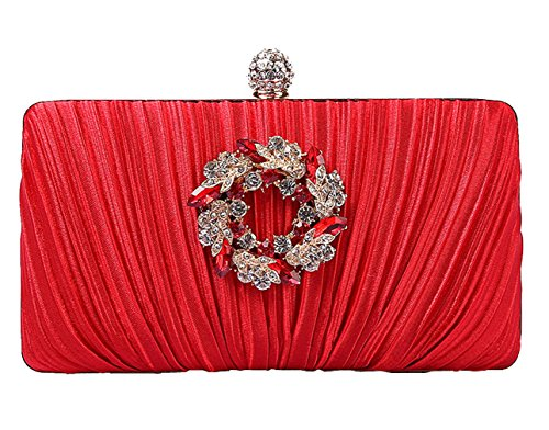 Bag silver Noble Womens 1 waistbag Evening HopeEye Clutch mxdwyb08 Wedding Elegant Satin Wallet White red 5 78xgq