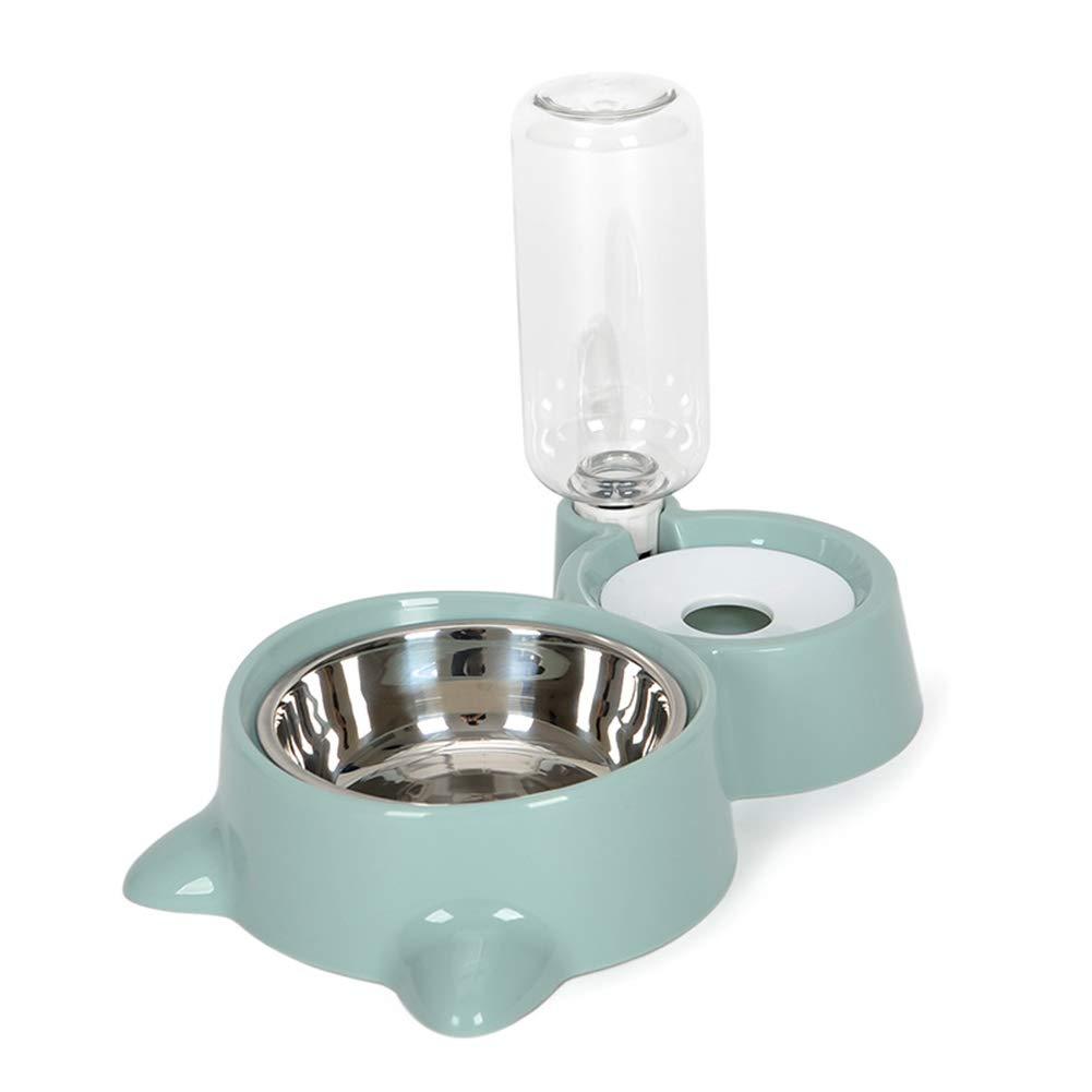 AKDSteel Doble taz/ón dispensador para Perros y Gatos Fuente de Agua para Alimentar Alimentos sin mojar Comedero autom/ático para Mascotas