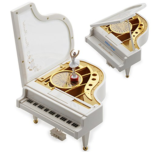Sidiou Group Creative Valentine's Day Gift Laputa Piano Dancing Girls Rotating Music Box Vintage Mechanical Classical Lovely Ballerina Girl Octave Musical Box