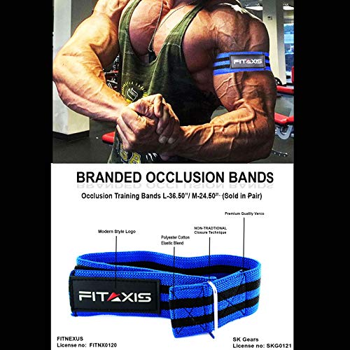 FITAXIS Blood Flow Resistance Bands for Lean & Fast Muscle Gaining of Arms,Legs, beicip(Blue/Black, M)