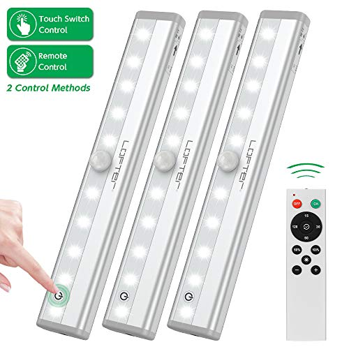 - Remote Control Cabinet Light, Dimmable 10-LED Wireless Under Counter Lighting, Battery Operated Closet Light, Stick-on Touch Sensor Night Light, 2 Control Methods (Remote/Touch Control)-(3 Pack)