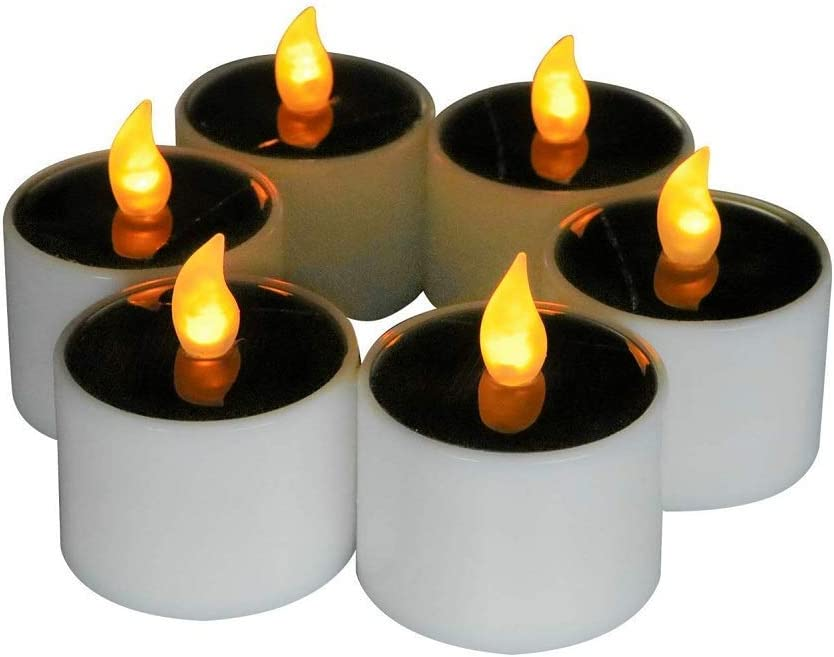 Sweet decoration 6 Pieces Romantic LED Flameless Candles Lights/Lamps, Solar Power LED Tea Light Candles Nightlight for Home Decor (Yellow Flickering)