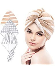 3 Pack Hair Towel Turban Wrap Microfiber Hair Drying Towel Shower Turban Hair Wrap, Quick Dry Towels Bath Shower Towels Head Turban Wrap Dry Shower with Buttons, Super Absorbent, Soft & Skin-friendly