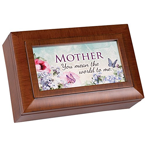 Grandmother Panel - Cottage Garden Mother You Mean The World Woodgrain Raised Panel Petite Music Box Plays Wonderful World
